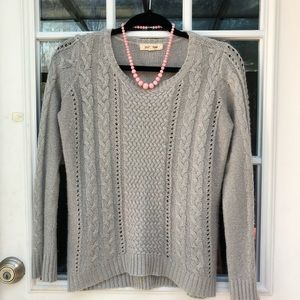 Pink Rose gray cable lace sweater M